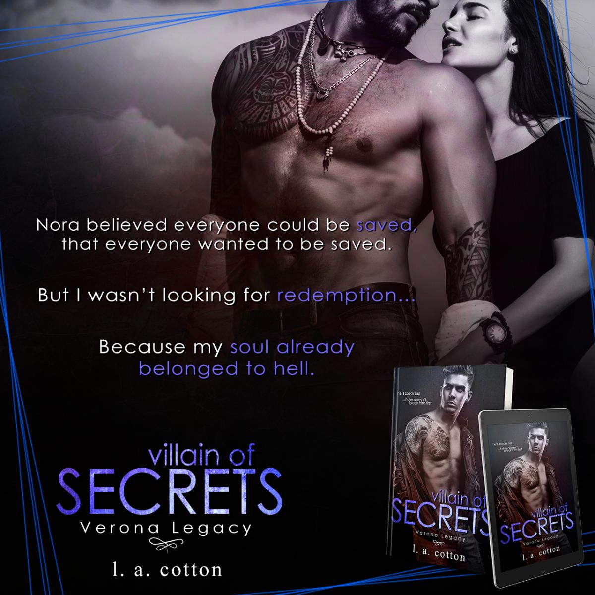 Teaser Reveal: Villain of Secrets by L. A. Cotton