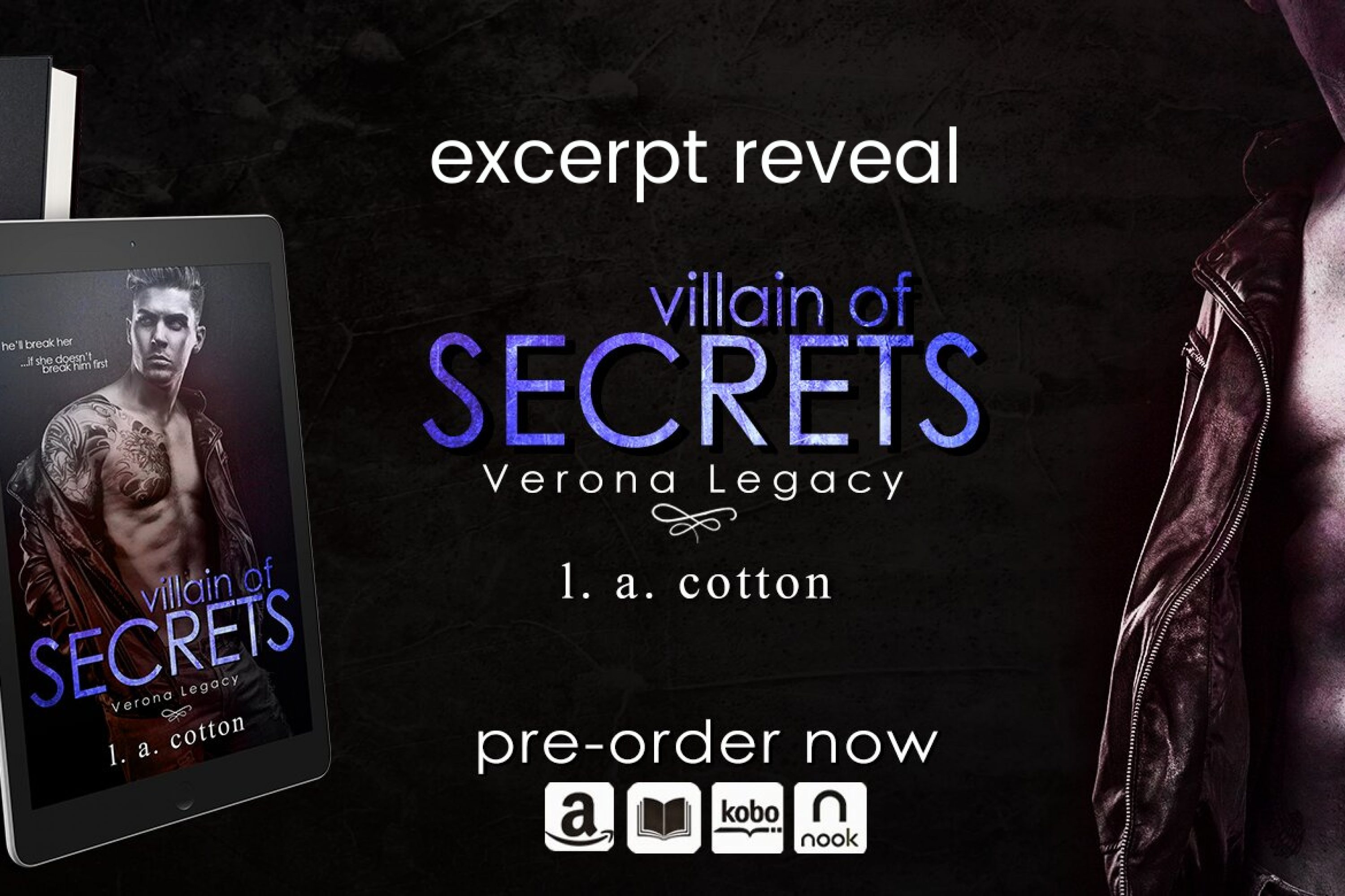 Excerpt Reveal: Villain of Secrets by L. A. Cotton